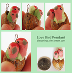 Nut Pendant Lovebirds - SOLD by Bittythings