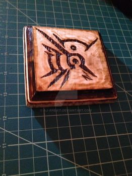 The Outsider's Mark: Wood Burned Coaster by AJ-anba17