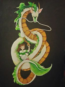 Spirited away - Haku and Chihiro  by Gadzinka98