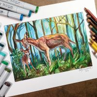 Mother Doe and Fawn by Lucky978