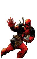 Deadpool Inks with Color by waitedesigns