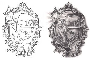 Freebies Film Noir Rhino Tattoo Design by TattooSavage
