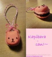 Kapibara-San Macron Charm~ Polymer Clay by FeatherLetters