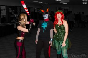 Harley Quinn, Terezi Pyrope and Poison Ivy cosplay by MidnightSkyPhoto
