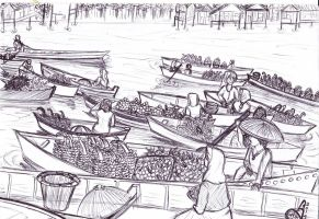 pasar apung (floating market) Borneo 2 by Crowdstroia