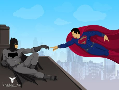 Superman and Batman Michelangelo Style by yasserian