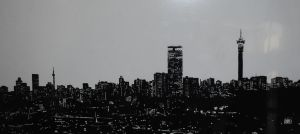 Joburg skyline -ink on acetate by DummyForce