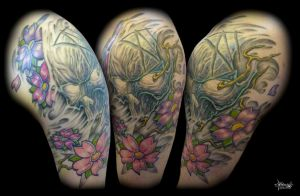 Skull and Cherry Blossoms by Loren86