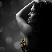 Black  and White with a hint of colour- Gold by DeviantGrace