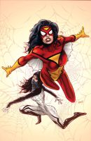 Spider-Woman and Silk by battle810