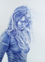 Ice Queen - in blue pen by LadyAnete