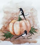 magpies and pumpkin by Olya19