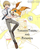 Dtri. - Takaishi Takeru and Patamon by Deco-kun