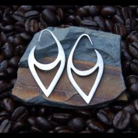 Silver Tribal Earrings 16ga by DreamingDragonDesign