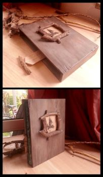 Wooden book cover by ZombieArmadillo