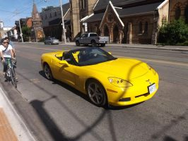 The Yellow Corvette On Dundas Street by Neville6000