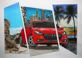 Traditional Dodge Dart Coloured Pencil Drawing by GTracerRens