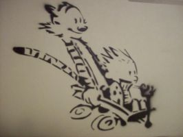 Calvin and Hobbes stencil by Lukemck123