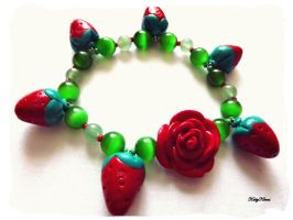 Red Strawberry Rose Bracelet by Cateaclysmic