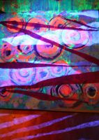 Blacklight Abstract Collage-Paintings by KeswickPinhead