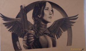 Katniss Everdeen Drawing - Mockingjay Part 2 by RapidFireArt