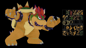 bowser super smahs bros wii u papercraft by javierini