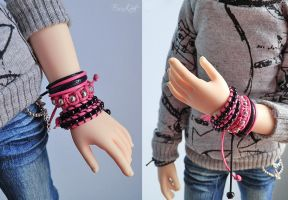 MSD Pink and Black bracelets set by BaziKotek