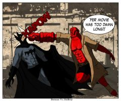 Hellboy Vs Batman by shweebie