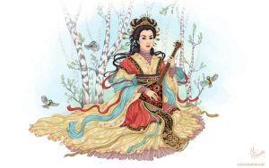Chinese woman  plays the balalaika by dimary