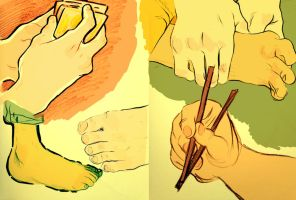 Hand and Feet Study by Papercut-Cranes