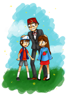 Two kids and their Grunkle by mismess-pixels