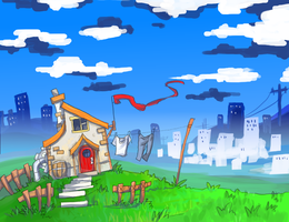 House by the city by Jump-Button