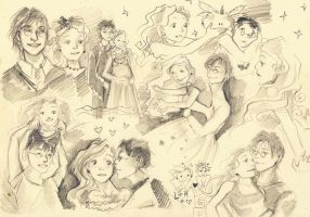 Harry and Luna skatches by MeryChess