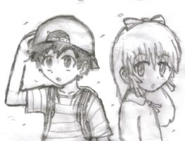 ness and paula in windy day by kain49