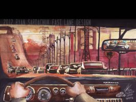 The Wanted Man (Car Chase Painting) by FastLaneIllustration