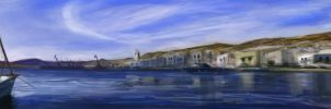 Ermoupolis port painting by Geartap