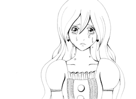 Line Drawing: Girl crying by MarcoWholeMilk