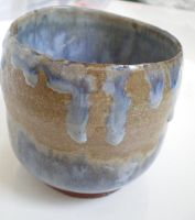Blue and Brown Ceramic Pot by peanutbuttahhh
