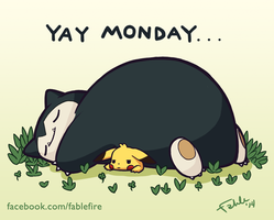 140316 Yay Monday - Snorlax Used Rest by fablefire