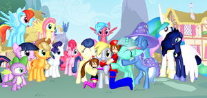 Group Hug For Derpy (Background Ponies) by Mario-McFly