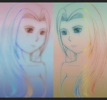 Rough sketch colorful girl by betodbz