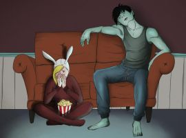 Fionna and Marshall Lee Movie Night by smeemee