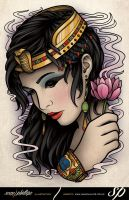 Egyptian Girl Lotus Tattoo Print by Sam-Phillips-NZ
