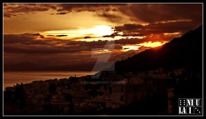 sunset in genova, italy by niulai