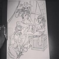 Cannibalistic Siren Pirates Sketch by LordSantiago
