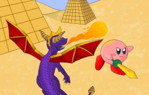 Art trade: Spyro vs Kirby by CartoonSilverFox