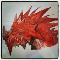 Red Stalagmite Backed Dragon by SkyChow