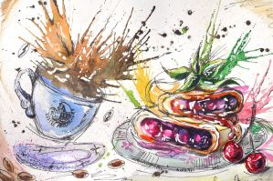 Coffee with Classic Cherry Strudel, watercolor by SanjaDotaArt