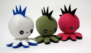Punk octopus plushies by jaynedanger