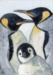 ACEO Emperor pinguin - family by sschukina